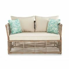 Simple, modern and tropical. This love seat brightens up any backyard patio or summerhouse Outdoor Sofa, Outdoor Furniture, Outdoor Decor, Patio Accessories, Canada Shopping, Backyard Patio, Online Furniture, Oasis, Mattress
