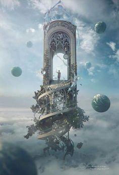 """Fantasy Artwork: """"Knocking On Heaven's Door"""" by Jie Ma Fantasy Magic, Fantasy World, Fantasy Fairies, Dream Fantasy, Fantasy Castle, Anime Fantasy, Fantasy Artwork, Digital Art Fantasy, Fantasy Places"""
