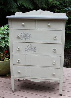 Vintage highboy dresser painted by Farmhouse Couture Furniture.  Find us on Facebook!