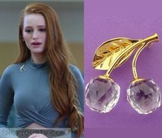 Cheryl Blossom wears this Swarovski crystal cherry pin on Riverdale Teenager Outfits, Girl Outfits, Cute Outfits, Veronica, Cheryl Blossom Aesthetic, Riverdale Cheryl, Riverdale Fashion, Tv Show Outfits, Betty And Jughead