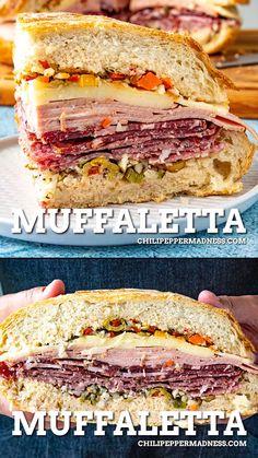 Muffaletta Recipe, Muffuletta Sandwich, Amazing Food Videos, Tasty Videos, Italian Meats, Italian Lunch, Italian Recipes, Mexican Food Recipes, Olive Salad