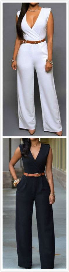 bbe2def138c Women s V Neck Sleeveless Wide-leg Jumpsuit With Belt - GIRLONSTYLE.COM