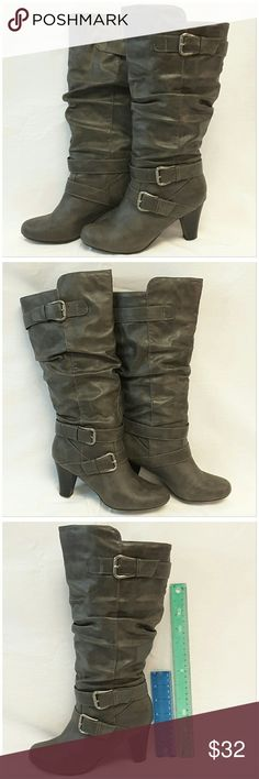 """40% BUNDLE DISCOUNT! FREE SHIPPING ON BUNDLES!! MADDEN GIRL, Tall, Heeled, Slouch Boots, size 7, three silvertone buckles, man made material, rulers for reference only (blue is 6"""", green is 12""""). ADD TO A BUNDLE!?? 40% BUNDLE DISCOUNT! FREE SHIPPING ON BUNDLES!! ?OFFER? 40% less Plus $6 LESS ON BUNDLES for shipping reimbursement! Madden Girl Shoes Heeled Boots"""
