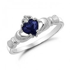 Sterling Silver Simulated Blue Sapphire Claddagh Ring