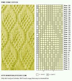 Pinecone knitting stitch pattern/ instructions