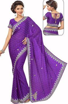 #Purple Satin Chiffon #Wedding #Saree with Blouse