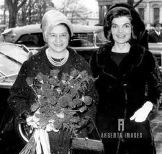 Mrs. Jacqueline Kennedy escorts Mrs. Betancourt up the stage of the Blair house here after welcoming ceremonies on the north Portico of the White House.