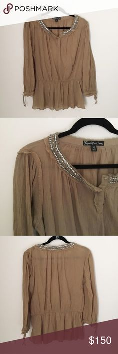 Elizabeth and James Olive Green Silver Jeweled Top Elizabeth and James olive green jeweled Blouse. Cinched waist detail, flowy fit. In excellent pre-owned condition - The perfect color for spring! Size M. No modeling/trades. Elizabeth and James Tops Blouses