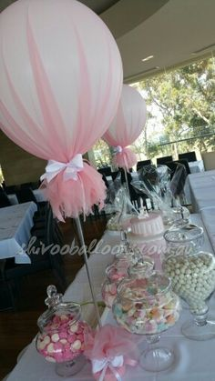 Discover thousands of images about Tulle balloons with silver confetti for a Holy Communion, so preety Deco Baby Shower, Girl Shower, Baby Shower Parties, Baby Shower Themes, Bridal Shower, Balloon Decorations, Wedding Decorations, Deco Ballon, Baptism Party