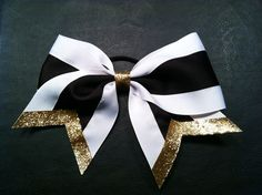 Black, White, and Gold 3 inch large Cheer Bow. $8.00, via Etsy.