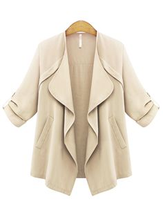 Long Sleeve With Pockets Loose Khaki Coat