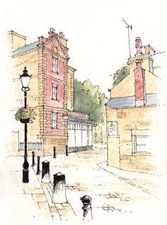 1 Montpellier Street in Harrogate ~ sketch ~ John Edwards Watercolor Sketch, Watercolor Landscape, Watercolor Paintings, Art Sketches, Art Drawings, Landscape Drawings, Urban Sketchers, Art Graphique, Art Sketchbook