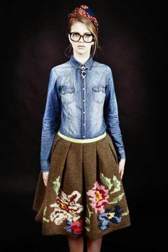 Stella Jean: Chambray shirt, knitted floral skirt.