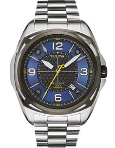 6e30840287d Bulova Mens Precisionist - Stainless Case Bracelet - Blue Dial w Yellow  Accents