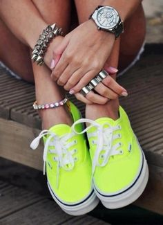 Sneakers For Girl : Girls Gone Wild: Spring Breakers neon vans Cute Vans, Cute Shoes, Me Too Shoes, Neon Vans, Neon Sneakers, Summer Sneakers, Summer Shoes, Vans Shoes, Shoes Heels