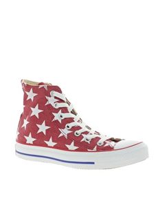Image 1 ofConverse All Star Red Star Print High Top Trainers
