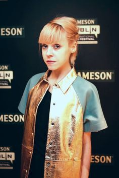 """ACTRESS ANTONIA CAMPBELL-HUGHES WEARS #JOANNEHYNES GOLD LEATHER SHIRT AT """"KELLY AND VICTOR"""" SCREENING AT THE JAMESON FILM FESTIVAL 2013.  €495  SHOP:http://www.joannehynes.com/shop/clothing/leather-shirt-gold/"""