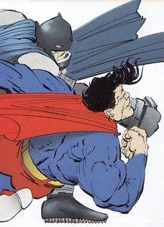 The Dark Knight Returns - Epic Final Battle- Batman bringing the pain. Comic Book Artists, Comic Book Characters, Comic Character, Comic Books Art, Comic Art, Comics For Sale, Free Comics, Frank Miller Art, Dark Knight Returns