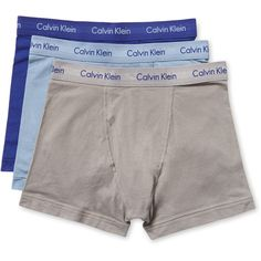 Calvin Klein Underwear Men's Cotton Stretch Trunks  - Cream/Tan ($31) ❤ liked on Polyvore featuring men's fashion, men's clothing, men's underwear, mens swim trunks and mens trunks