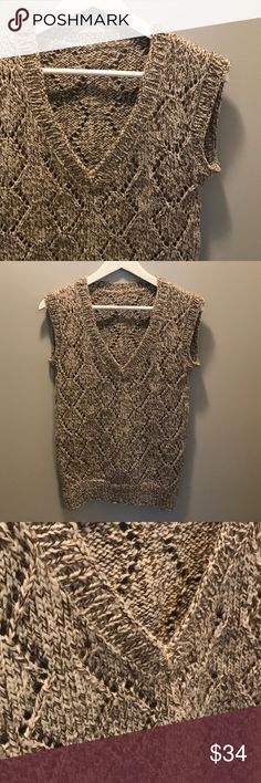 Handmade Knit Taupe Brown and Ivory Sweater Vest S This listing is for handknit sweater vest in a taupe-ish brown and ivory color pattern. It is a size small, and feTures a V-neck and a diamond pattern throughout. It also has ribbing along the neckline, sleeves, and bottom. It is in excellent used condition with no holes or stains. Handmade Sweaters V-Necks