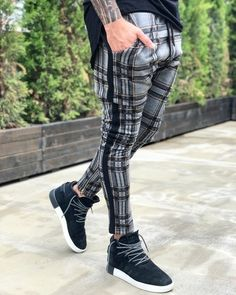NEW Men's Fleece Lined Red Grey Green Check Trousers Suit Pants Tracksuit Pants Casual Zip Pocket Fashion Streetwear Vogue Vintage, Streetwear Mode, Streetwear Fashion, Tracksuit Pants, Checked Trousers, Slim Fit Pants, Slim Joggers, Mens Fleece, Trouser Suits