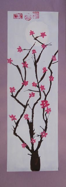 """My Grade 7 class recently finished these cherry blossom paintings as part of our """"Japanese Art"""" unit. I absolutely adore cherry blo. Japanese Stamp, Japanese Blossom, Japanese Art, Cherry Blossom Painting, Cherry Blossom Tree, 4th Grade Art, Fourth Grade, Spring Art Projects, Art Classroom"""