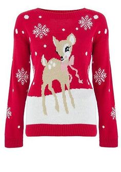 Red Knit Deer Snowflake Jumper from Quiz - £26.99 at ClothingByColour.com