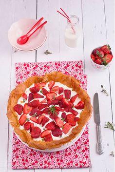 Tarta crujiente de mascarpone y fresas