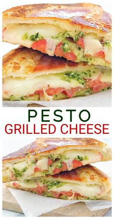 Pesto Grilled Cheese Sandwich - caprese style grilled cheese with fresh tomatoes, garlicky basil pesto, lots of fresh mozzarella cheese all wrapped in prosciutto then grilled until crisp! So fancy! These pesto grilled cheese paninis are a very grown up gr Pesto Grilled Cheeses, Grilled Cheese Recipes, Grilled Cheese With Tomato, Pesto Sandwich, Sandwich Recipes, Deli Sandwiches, Sandwich Ideas, Grilled Sandwich, Sweets