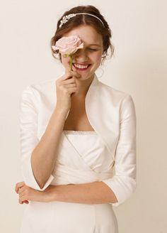 love this look... if i ever get married.... half sleeve satin wedding bolero jacket