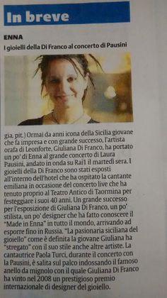 L'articolo sui gioielli GIULIANAdiFRANCO su La Sicilia