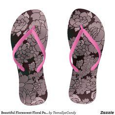290419bbd78ab Beautiful Florescent Floral Pattern Flip Flops