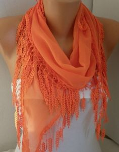Orange Scarf Cotton Scarf  Cowl with Lace