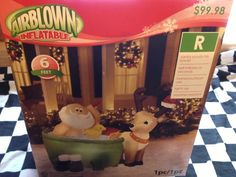 Animated Santa in Bathtub w/ Duck Christmas Airblown Inflatable Gemmy Yard Decor