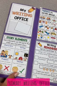 Writing offices are super helpful to make your students more independent when it comes to writing du Kindergarten Writing Activities, Homeschool Kindergarten, Kids Learning Activities, Teaching Writing, Writing Tips, Narrative Writing, Kindergarten Writers Workshop, Kindergarten Homework Folder, Interactive Notebooks Kindergarten