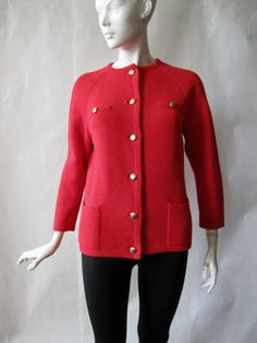 1960's cherry red wool cardigan with hip by afterglowvintage, $40.00