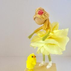 ONE OF A KIND! Bendy Flower Fairy Dolls is the perfect gift for Easter or any occasion! Hight: 4 1/2 inches (with base 5 1/2 inches)