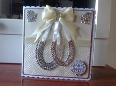 ( 8 x 8 card ). Tattered lace horseshoe die, Tweed together embossing folder, hand made by Michelle ( Mash.t )