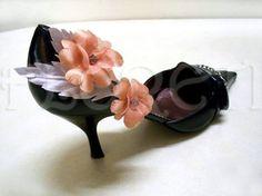 Rose Wedding Shoe Bridesmaid Accessory Golden Apricot Silver Swarovski | Floreti - Wedding on ArtFire. $92.34
