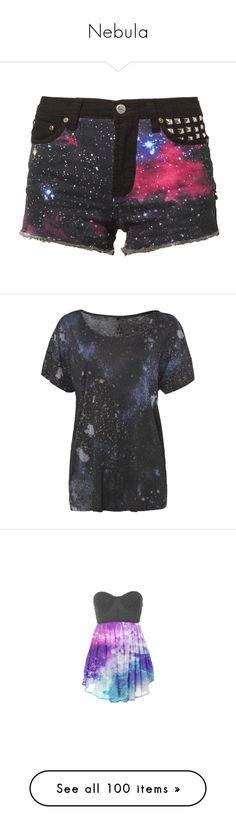 """Nebula"" by jokerstrance ❤ liked on Polyvore featuring shorts, bottoms, pants, short, black, women's trousers, denim short shorts, galaxy jean shorts, galaxy print shorts and bambam"