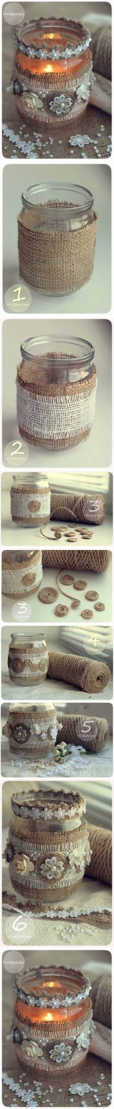 05fdd82b7a9 Button and Burlap Hand Wrapped Votive Candle Diy Vintage Candles