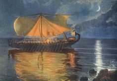 Jan Styka - The boat belonging to Phaeaceans brings Odysseus back to his land. Tags: odysseus, ulysses, odyssey,