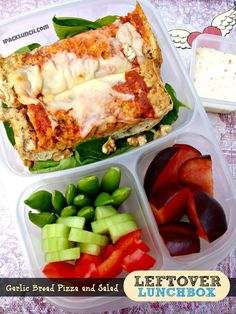 Garlic bread pizza and salad packed fast in #easylunchboxes containers
