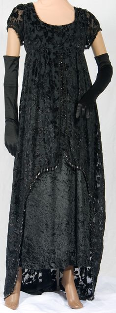 Black Stretch Eelvet dress with empire waist Titanic Gown