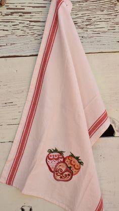 Retro Strawberries Embroidered tea Towel - Great for mid-century modern kitchen! by NestingInstinctShop on Etsy