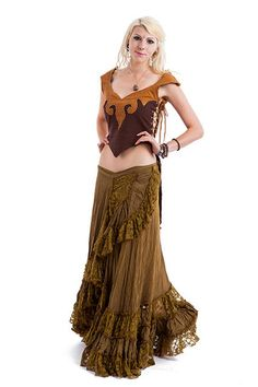 LONG GYPSY SKIRT flamenco skirt long wrap skirt olive by AltshopUK