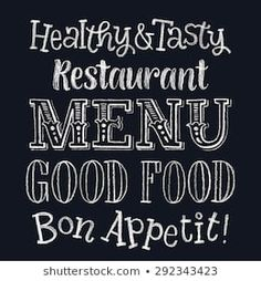 Vector illustration with hand-drawn lettering. Calligraphic and typographic elements on chalk blackboard Delicious Restaurant, Menu Restaurant, Blackboard Menu, Chalkboard, Hippie Images, Alphabet Drawing, Find Fonts, Hand Drawn Lettering, Royalty Free Photos