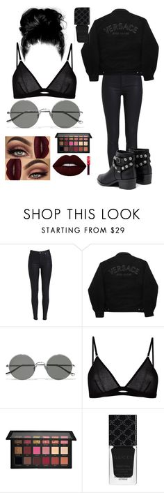 """Black"" by bvblilly1909 ❤ liked on Polyvore featuring Versace Jeans Couture, Sunday Somewhere, Maison Close, Huda Beauty, Gucci and Senso"