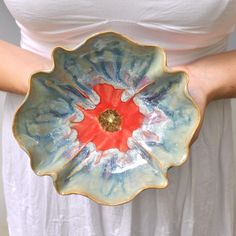 Poppy Bowl stoneware pottery dinnerware bowl Ice Blue by MarciG, $29.00