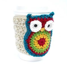 Owl  Slip On Coffee Mug Cup Travel Mug Crochet by CageFreeFibers, $10.00
